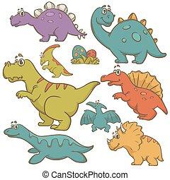 dinosaurie, sätta, tecknad film, kollektion