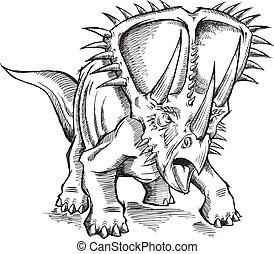 dinosaurie, skiss, vektor, triceratops
