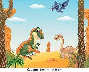 dinosaurie, tecknad film, kollektion, lycklig