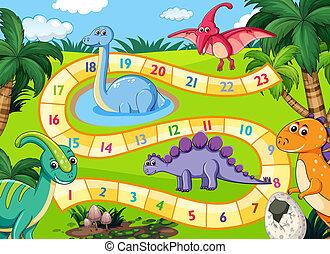 dinosaurier, prähistorisch, szene, boardgame