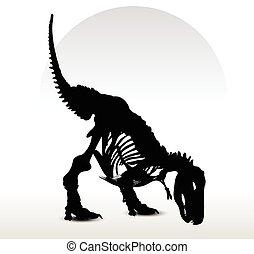 dinosaurier, skelett, trex