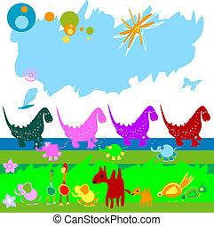 dinosaurier, und, andere, wenig, tiere