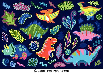 dinosaurierer, dekorativ, aufkleber, set., abbildung, farn, ...