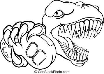 dinosaurierer, gamer, spiel, maskottchen, video, controller