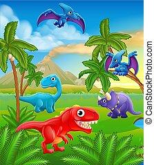 dinosaurierer, prähistorisch, karikatur, landschaftsbild, szene