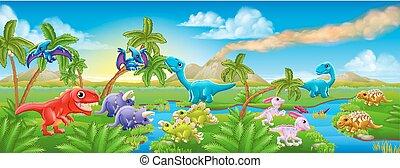 dinosaurierer, reizend, szene, landschaftsbild, karikatur