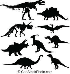 dinosaurierer, silhouette, skelett, knochen