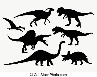 dinosaurierer, silhouetten, tier