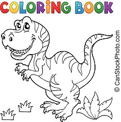 dinosaurierer, thema, färbung, 5, buch