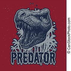 dinosaurierer, trex, vektor, hintergrund.