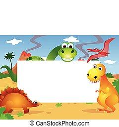 dinosaurierer, und, weißes, leerstelle