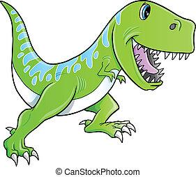 dinosaurierer, vektor, tyrannosaurus, reizend