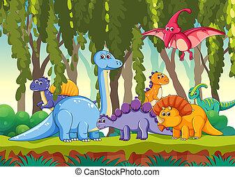 dinosaurierer, verschieden, wald