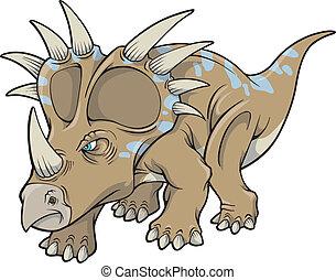 dinosaurio, arte, vector, triceratops