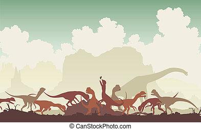 dinosaurio, banquete