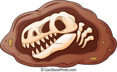 dinosaurio, cabeza, caricatura, fósil