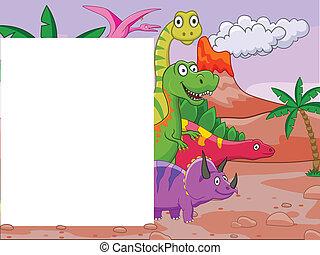 dinosaurio, caricatura, con, muestra en blanco