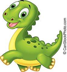 dinosaurio, caricatura, feliz