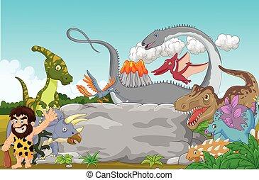 dinosaurio, cavernícola, colección, wa