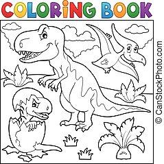 Dinosaurio, colorido, libro