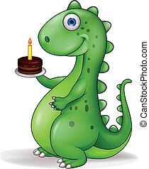 dinosaurio, con, torta de cumpleaños