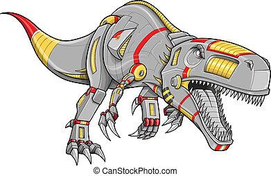 dinosaurio, cyborg, robot, t-rex