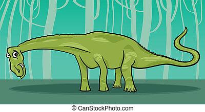 dinosaurio, diplodocus, caricatura, ilustración