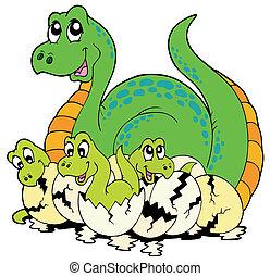 dinosaurio, mamá, con, lindo, bebes