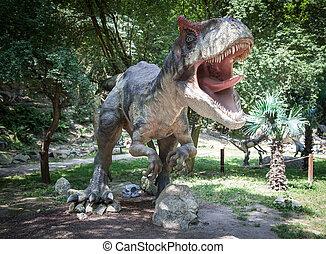 dinosaurio, modelo, allosaurus, realista