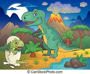 Dinosaurio, paisaje, noche