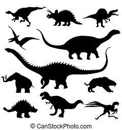 dinosaurio, siluetas, colección