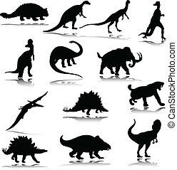 dinosaurio, siluetas, ilustración