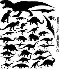 dinosaurio, siluetas