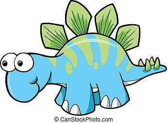 dinosaurio, stegosaurus, vector, tonto