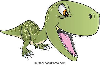 dinosaurio, t-rex, vector, duro