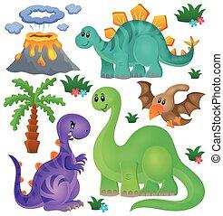 dinosaurio, tema, conjunto, 1