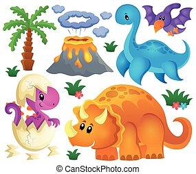 dinosaurio, tema, conjunto, 2