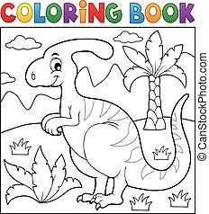 dinosaurio, tema, libro colorear, 4