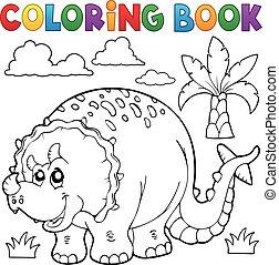 dinosaurio, tema, libro colorear, 6