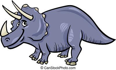 dinosaurio, triceratops, caricatura, ilustración