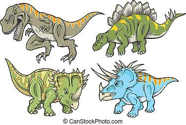 dinosaurio, vector, conjunto, ilustración