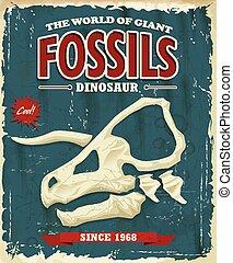 dinosaurio, vendimia, des, fósiles, cartel