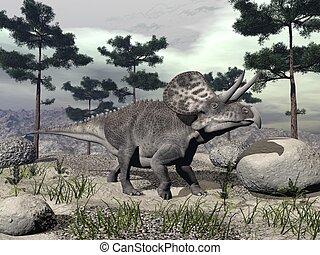 dinosaurio, zuniceratops, -, render, 3d