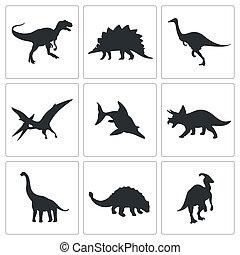 dinosaurios, colección, iconos