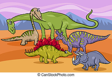 dinosaurios, grupo, caricatura, ilustración