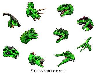 dinosaurios, grupo, plano de fondo, blanco, vector