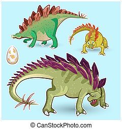 dinosaurios, stegosaurus, pegatina, colle
