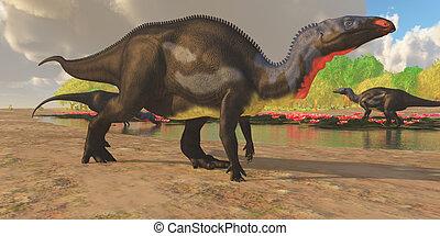 dinosauro, camptosaurus, stagno