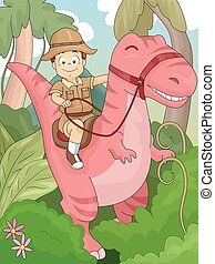 dinosauro, capretto, avventura, ragazzo