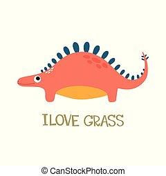 dinosauro, carino, scarabocchiare
